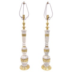 Pair of Vintage Marble and Brass Tall Table Lamps