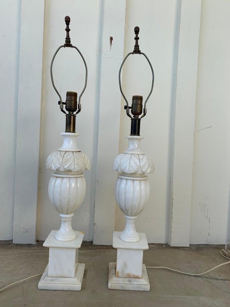 Mid-Century Modern Pair of Vintage Marble Lamps