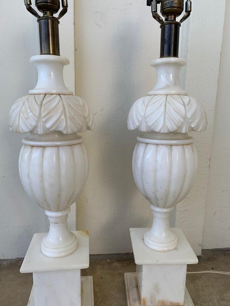 American Pair of Vintage Marble Lamps