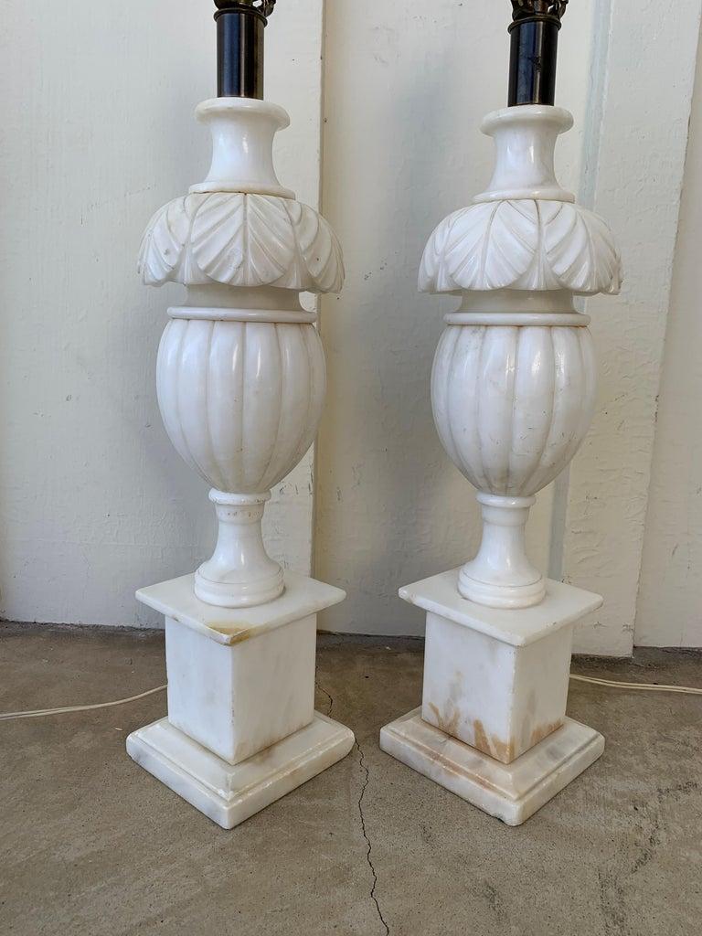 Pair of Vintage Marble Lamps 1
