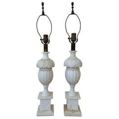 Pair of Vintage Marble Lamps