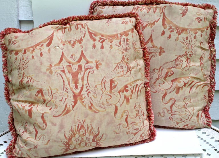 Two early pillows made from 'Mazzarino' pattern fabric. Each measures: 16