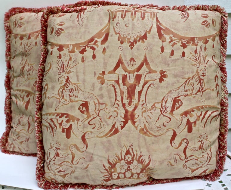 Neoclassical Revival Pair of Vintage Mariano Fortuny Pillows,