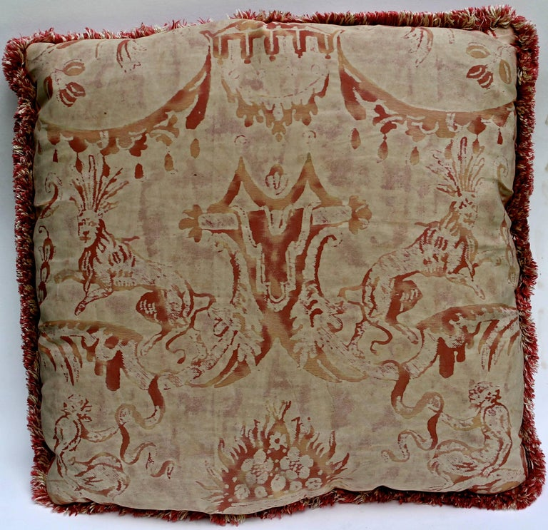 Hand-Crafted Pair of Vintage Mariano Fortuny Pillows,