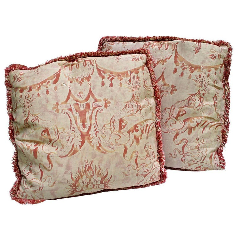 """Pair of Vintage Mariano Fortuny Pillows, """"Mazzarino"""" For Sale"""