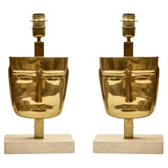 Pair of Vintage Masks Table Lamps Cast Brass Travertine Marble Base Italian