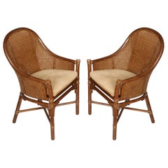 Pair of Vintage McGuire Caned Armchairs