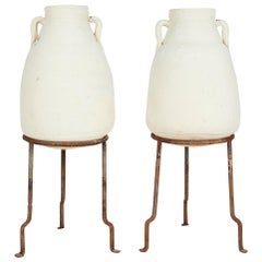 Pair of Vintage Mediterranean White Clay Vessels on Forged Iron Stands