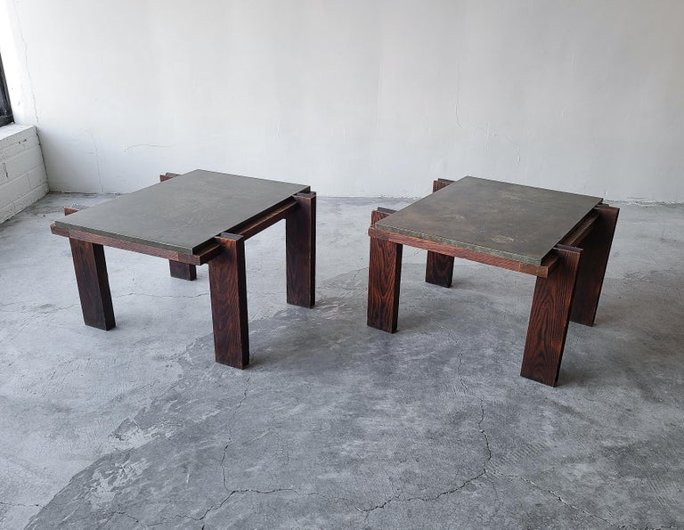 Mid-Century Modern Pair of Vintage Metal and Oak Craftsman Side Tables For Sale