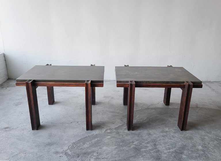 Pair of Vintage Metal and Oak Craftsman Side Tables In Good Condition For Sale In Las Vegas, NV