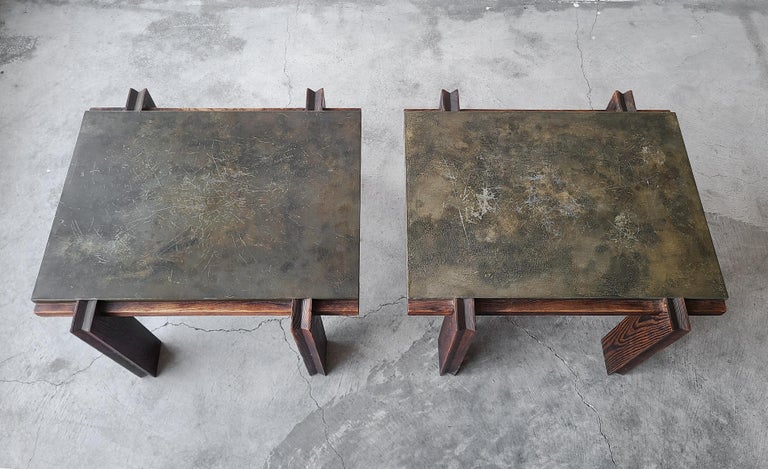 20th Century Pair of Vintage Metal and Oak Craftsman Side Tables For Sale