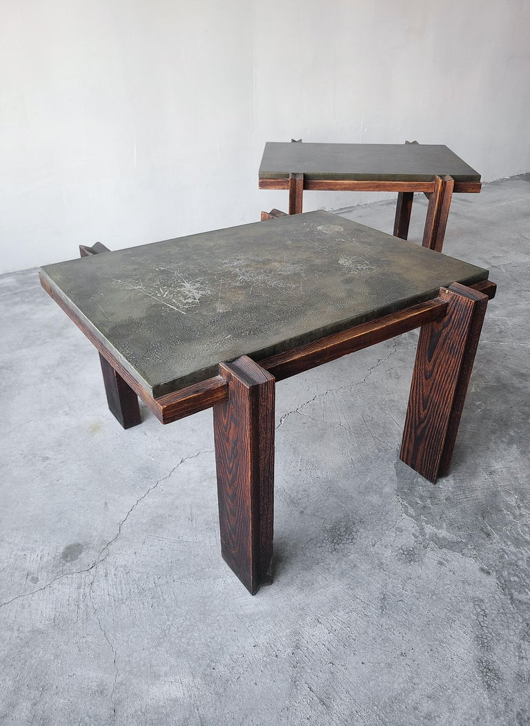 Pair of Vintage Metal and Oak Craftsman Side Tables For Sale 1