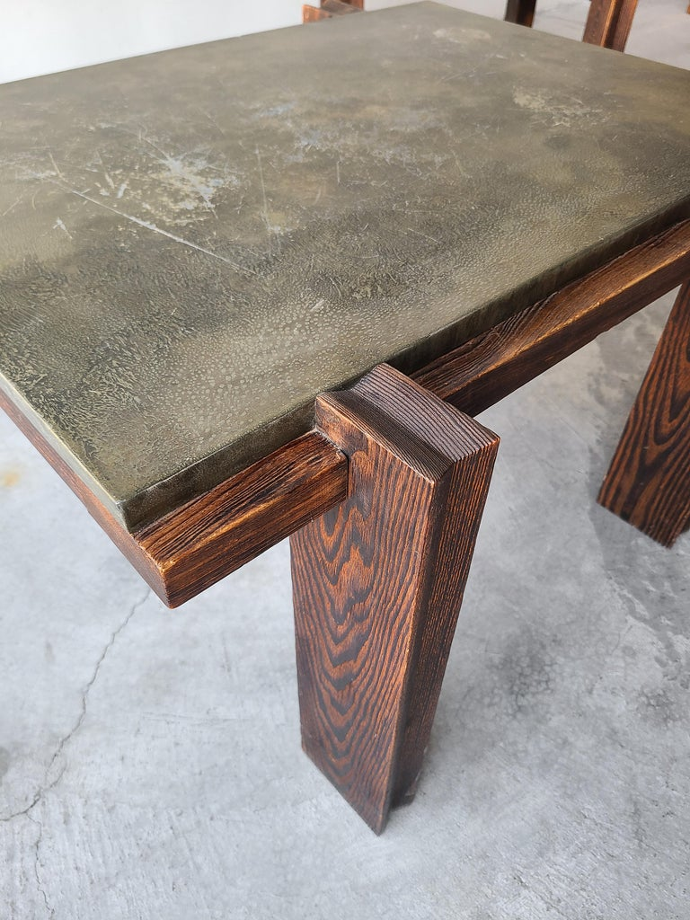 Pair of Vintage Metal and Oak Craftsman Side Tables For Sale 2