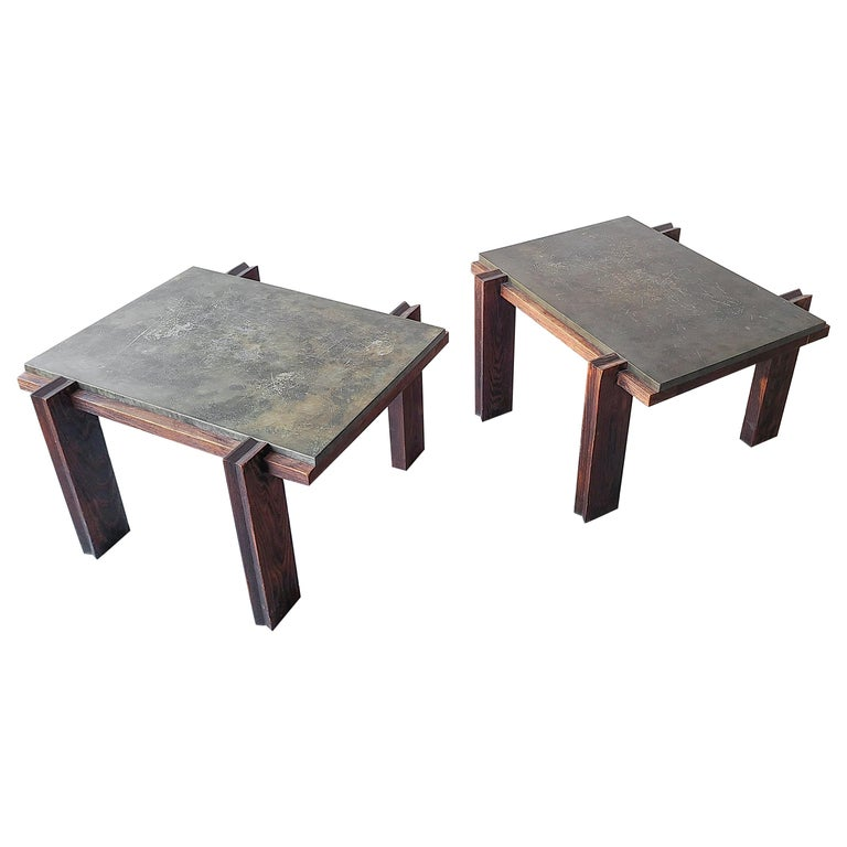 Pair of Vintage Metal and Oak Craftsman Side Tables For Sale