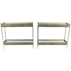 Vintage Metal and Mirrored Console, One Available
