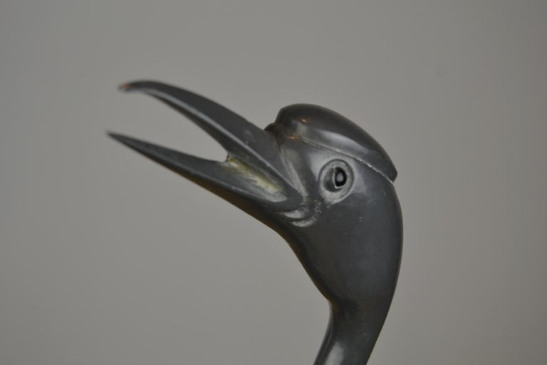 Pair of Vintage Metal with Brass Crane Bird Sculptures, 1970s, Europe For Sale 4