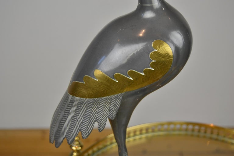 Pair of Vintage Metal with Brass Crane Bird Sculptures, 1970s, Europe For Sale 6
