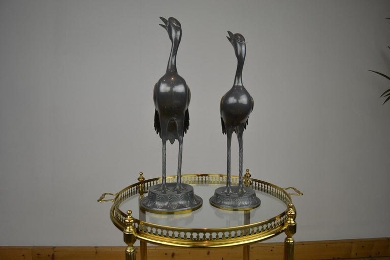 Pair of Vintage Metal with Brass Crane Bird Sculptures, 1970s, Europe For Sale 8