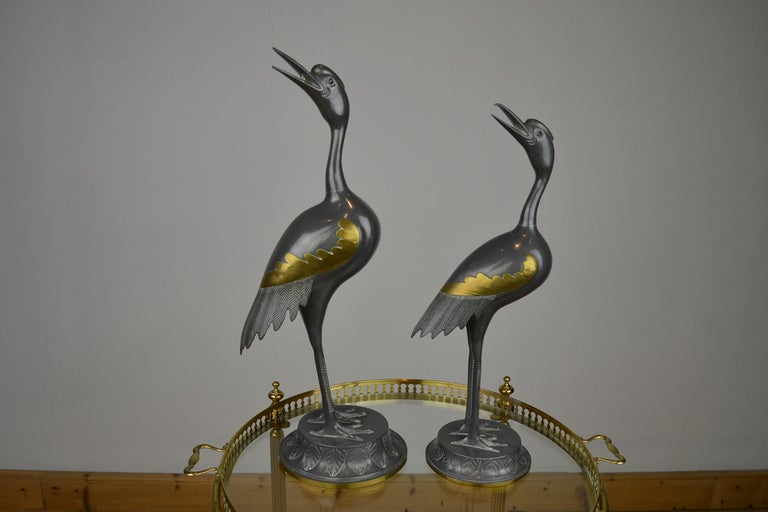 Pair of Vintage Metal with Brass Crane Bird Sculptures, 1970s, Europe For Sale 11