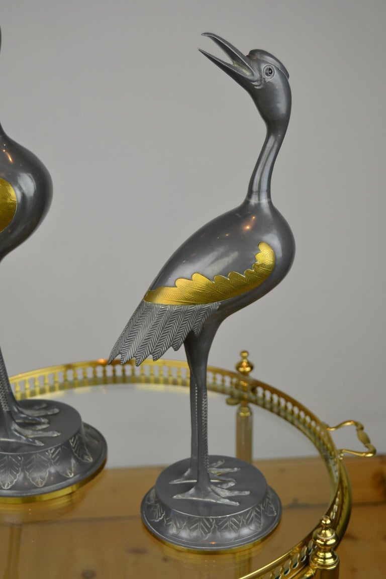 Pair of Vintage Metal with Brass Crane Bird Sculptures, 1970s, Europe For Sale 13
