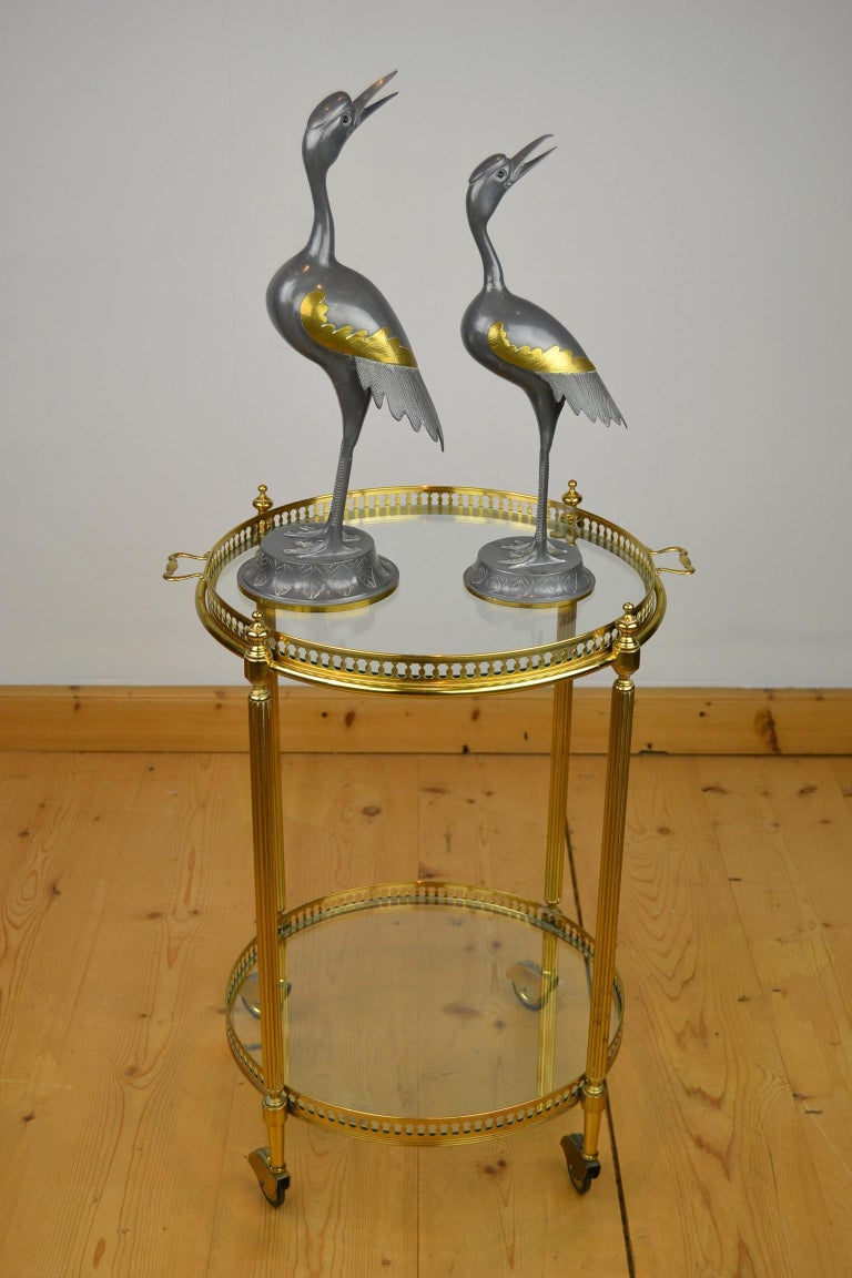 Stylish set of 2 vintage metal with brass bird sculptures- Heron Sculptures from the 1970s. These animal sculptures are beautiful decorative objects with a touch of golden details. They are in good condition with minor superficial scratches in
