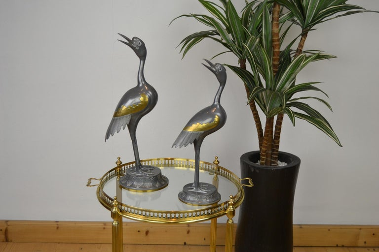 Pair of Vintage Metal with Brass Crane Bird Sculptures, 1970s, Europe For Sale 14