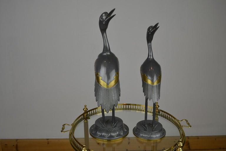 Mid-Century Modern Pair of Vintage Metal with Brass Crane Bird Sculptures, 1970s, Europe For Sale