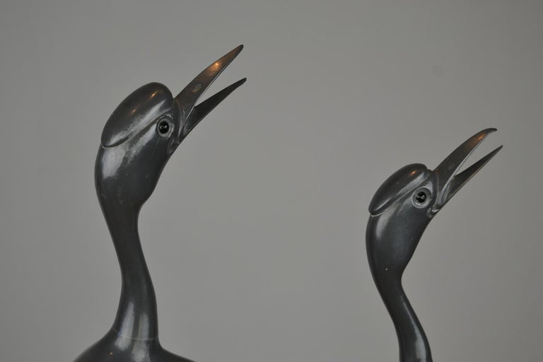 Pair of Vintage Metal with Brass Crane Bird Sculptures, 1970s, Europe In Good Condition For Sale In Antwerp, BE