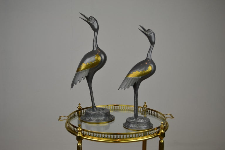 20th Century Pair of Vintage Metal with Brass Crane Bird Sculptures, 1970s, Europe For Sale