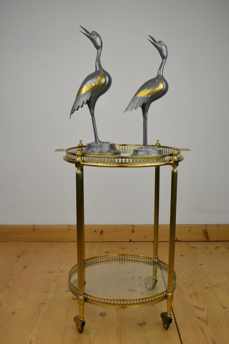 Pair of Vintage Metal with Brass Crane Bird Sculptures, 1970s, Europe For Sale 1