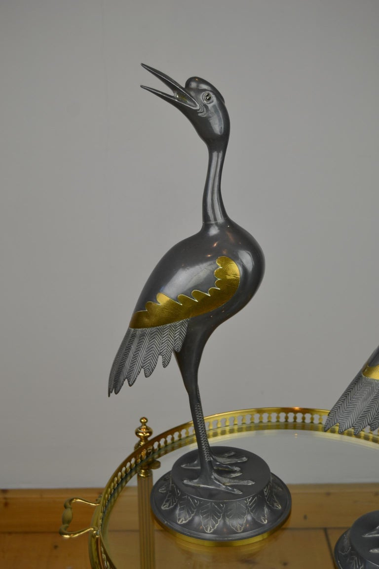 Pair of Vintage Metal with Brass Crane Bird Sculptures, 1970s, Europe For Sale 2