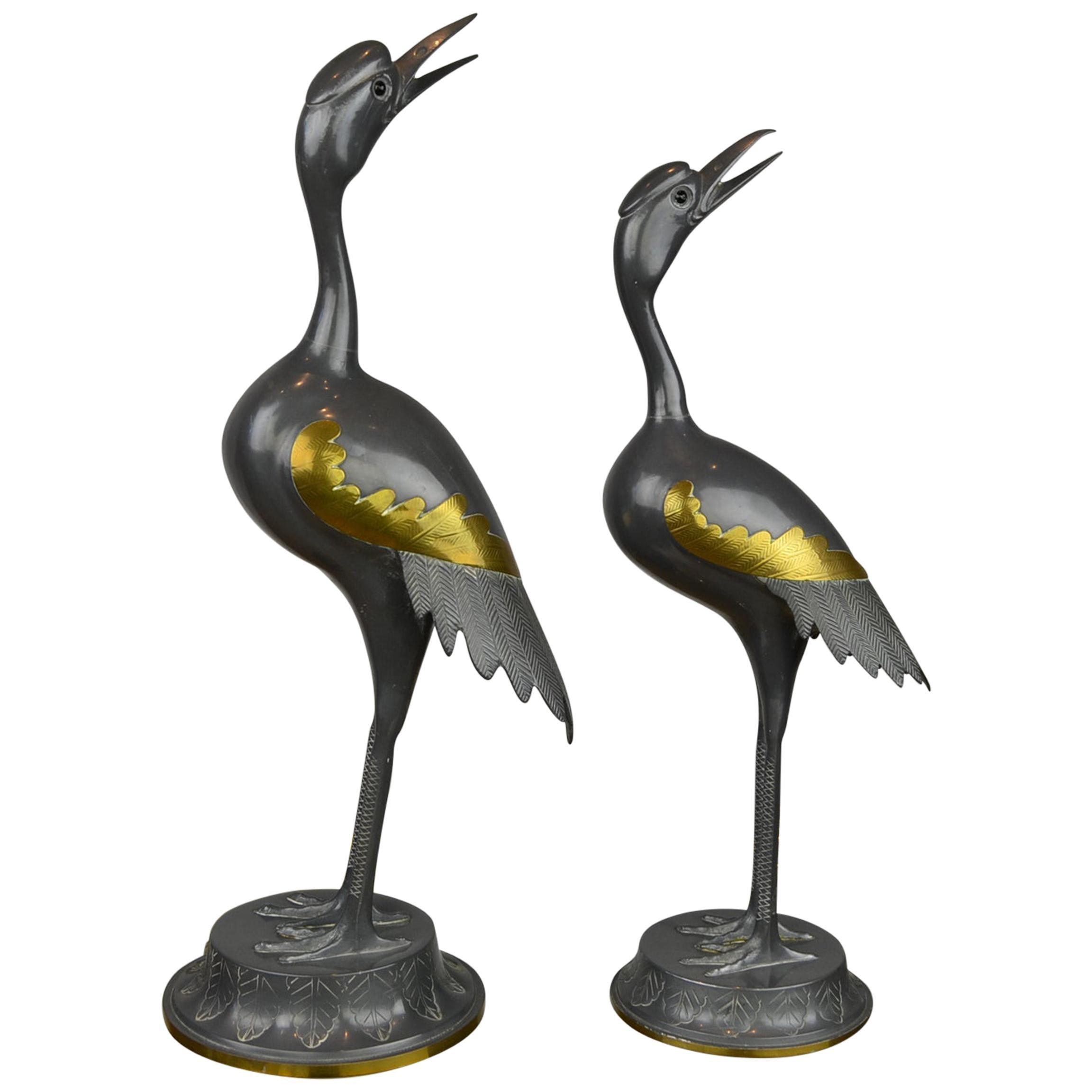 Pair of Vintage Metal with Brass Crane Bird Sculptures, 1970s, Europe