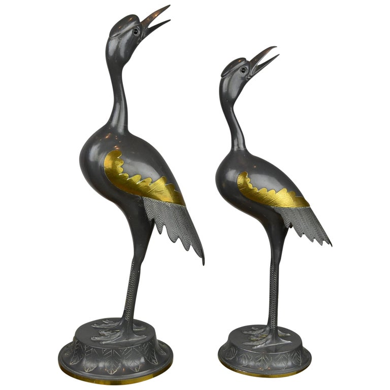 Pair of Vintage Metal with Brass Crane Bird Sculptures, 1970s, Europe For Sale