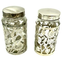 Pair of Vintage Mexican Floral Sterling Silver Overlay Glass Jars