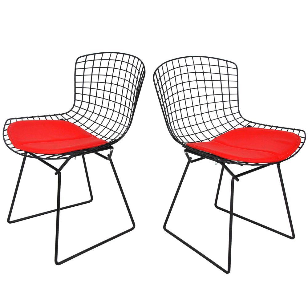 Pair of Vintage Midcentury Black Knoll Bertoia Side Chairs