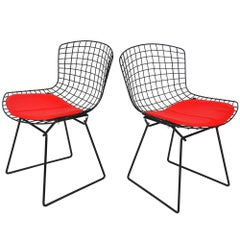 Pair of Vintage Midcentury Black Knoll Bertoia Side Chairs