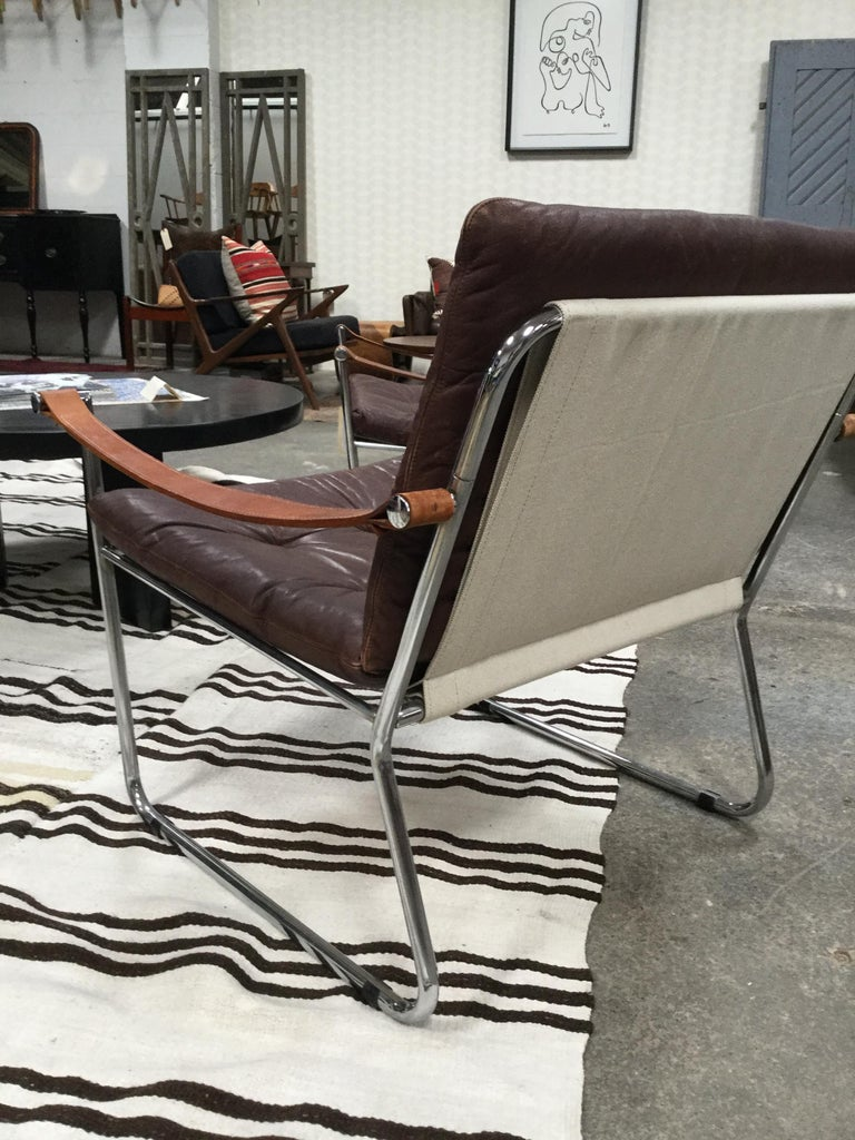 Pair of Vintage Midcentury Danish Leather and Metal Armchairs In Good Condition For Sale In Los Angeles, CA