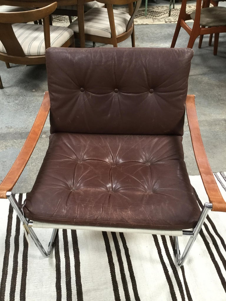 1960s Pair of Vintage Midcentury Danish Leather and Metal Armchairs For Sale