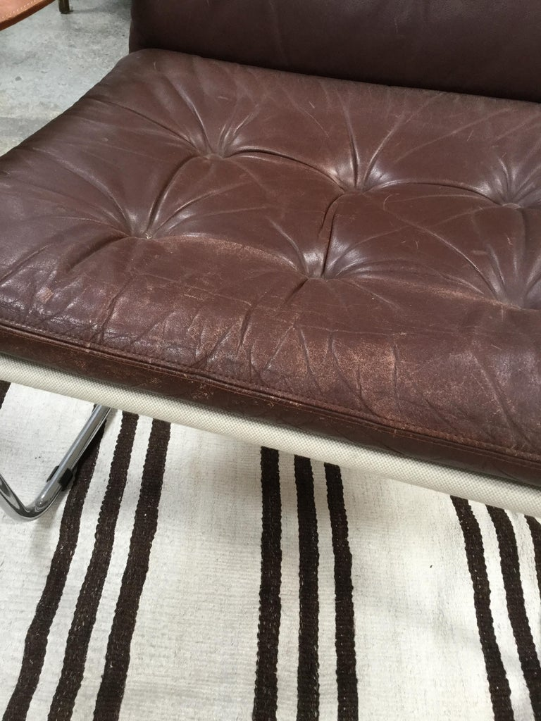 Pair of Vintage Midcentury Danish Leather and Metal Armchairs For Sale 1