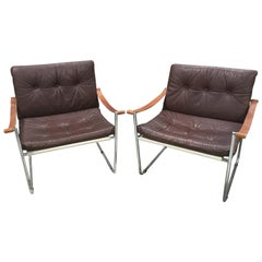 Pair of Vintage Midcentury Danish Leather and Metal Armchairs
