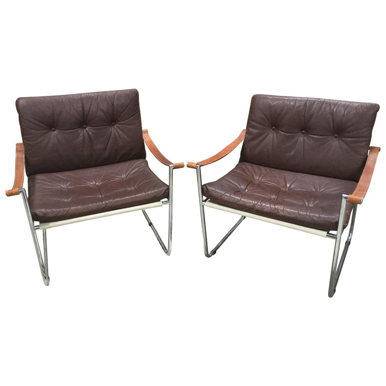 Pair of Vintage Midcentury Danish Leather and Metal Armchairs For Sale