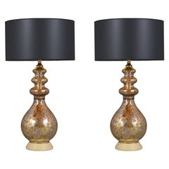 Pair of Vintage Mid-Century Glass Table Lamps