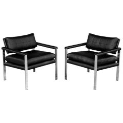 Pair of Vintage Mid-Century Modern Armchairs in Metal