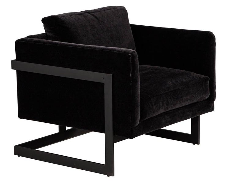 Pair of Vintage Mid-Century Modern Black Lounge Chairs For Sale 4