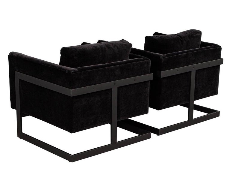 Pair of Vintage Mid-Century Modern Black Lounge Chairs For Sale 1