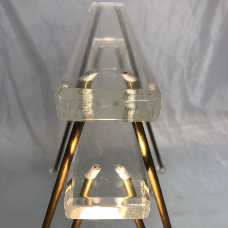 Pair of Vintage Mid-Century Modern Brass and Lucite Stands or Tray Racks For Sale 14