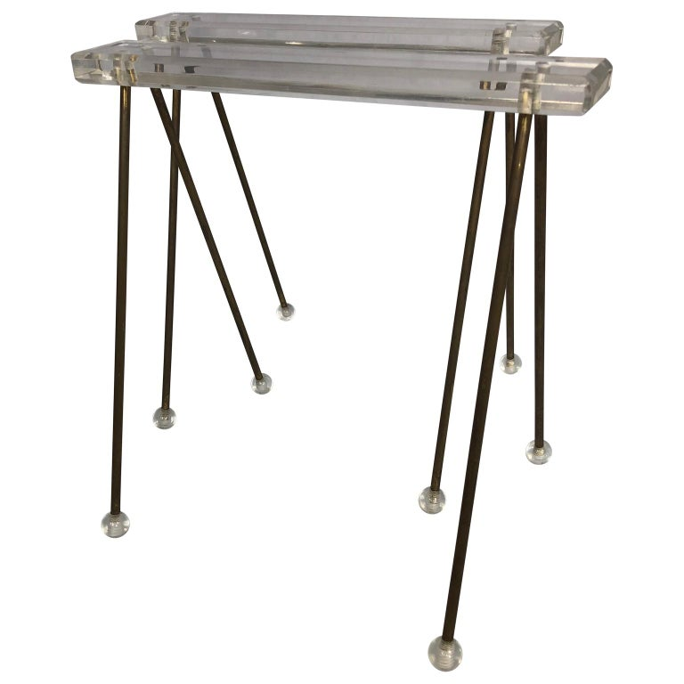 Pair of vintage Mid-Century Modern brass and Lucite stands or tray racks.