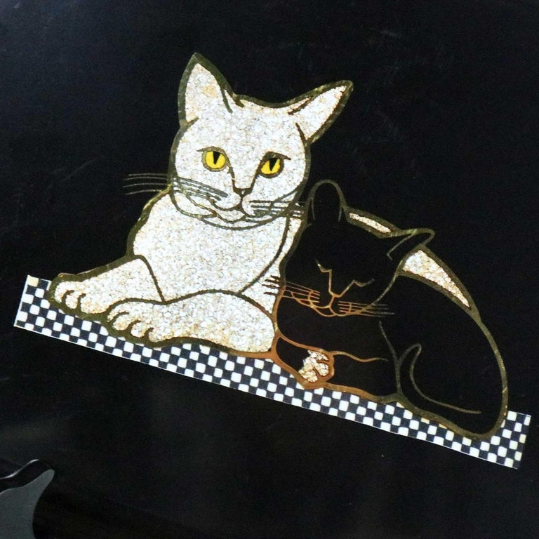 Pair of Mid-Century Modern Couroc of Monterey Black Trays Cats and Butterfly For Sale 5