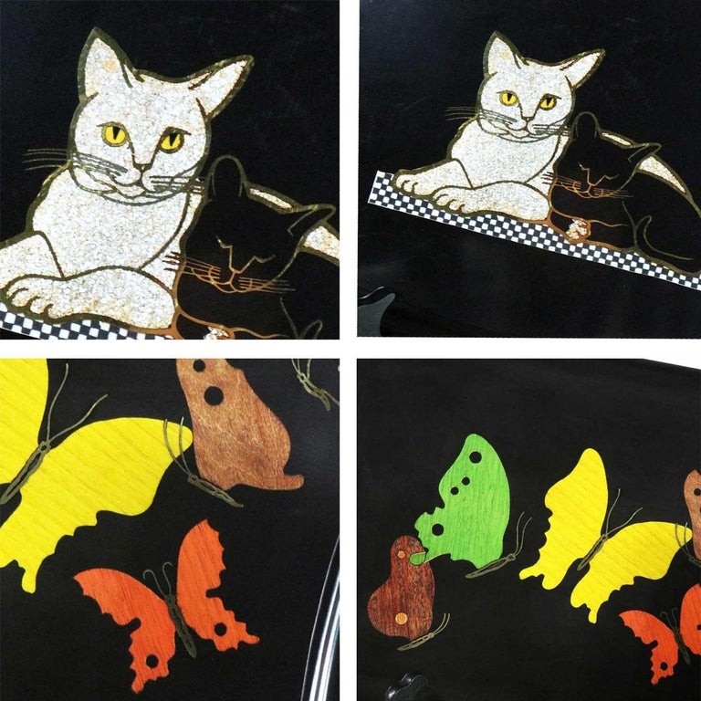 Pair of Mid-Century Modern Couroc of Monterey Black Trays Cats and Butterfly For Sale 9