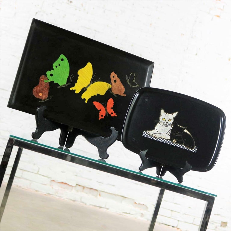 Resin Pair of Mid-Century Modern Couroc of Monterey Black Trays Cats and Butterfly For Sale